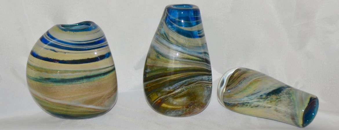 "Three ""Storm Cloud"" vases by Siddy Langley in blues and creams and greys"