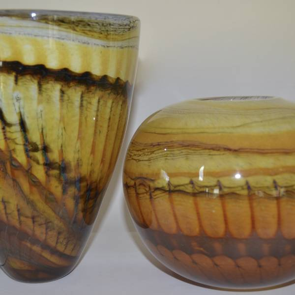 two pheasant feather vases in black and amber