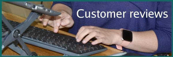 typing hands for customer review