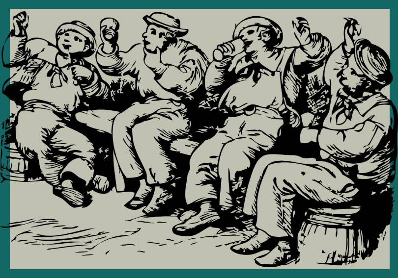 old picture of drunken 18th century sailors