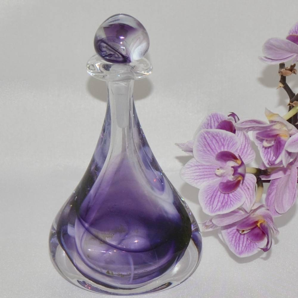 """Siddy Langley """"Beyond The Veil"""" scent bottle in mauves and greens with orchids"""