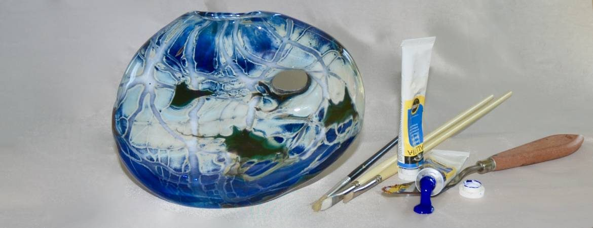 Tony's Palette Oval Vase with hole through to mimic the painting palette of Anthony Curtis