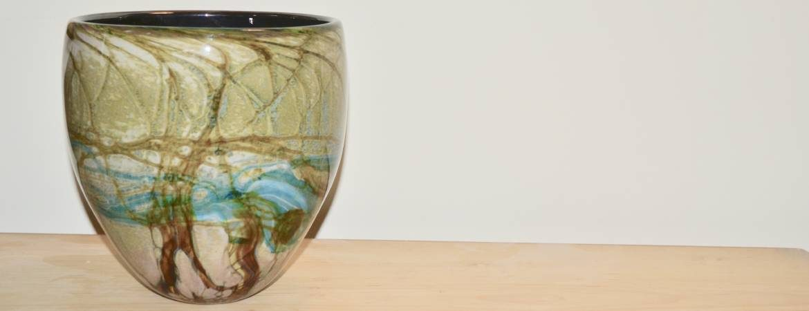 Siddy Langley open vase based on the cave system at Krizna Jama